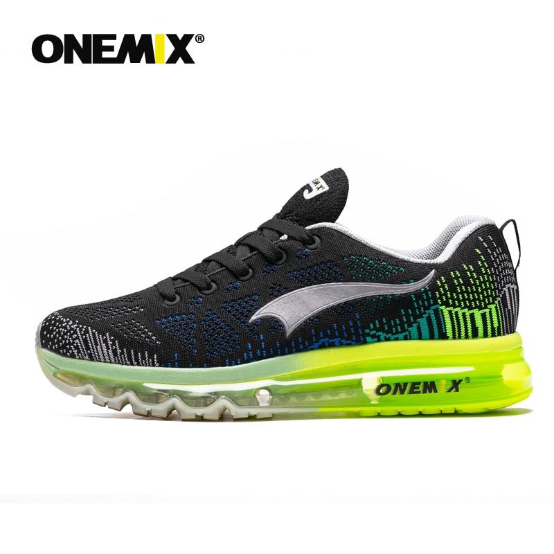 Homens Almofada de Ar Tênis de corrida Para As Mulheres 3D ONEMIX Tricô de Malha Respirável de Treinadores de Atletismo Ao Ar Livre Tênis de Corrida Max 12.5