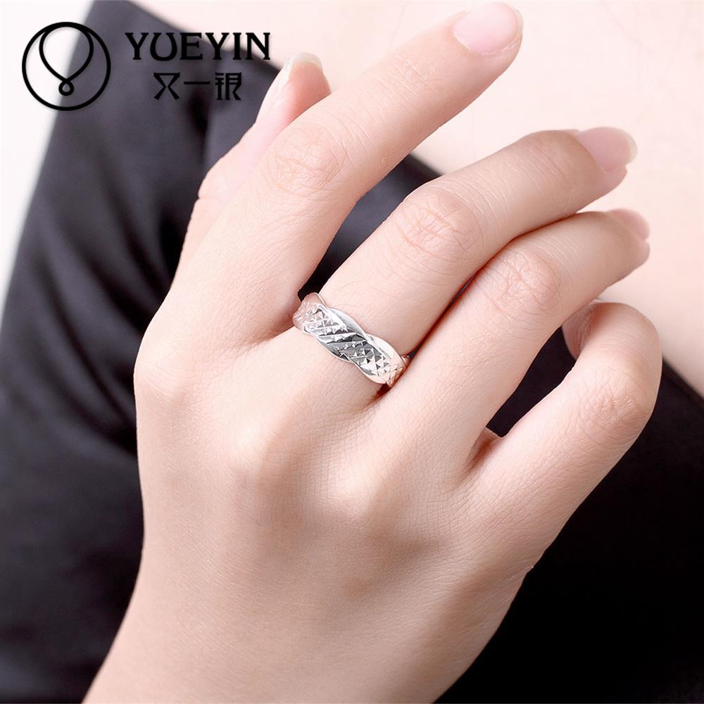 Fashion Silver plated finger rings for women wedding ring couple ...