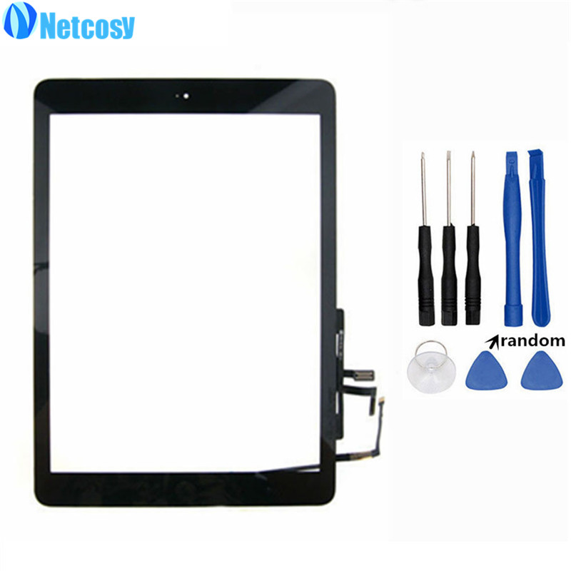 все цены на Netcosy For ipad Air Touch Screen Digitizer panel Assembly & Home Button replecement For ipad 5 Tablet touch panel & Free tools онлайн
