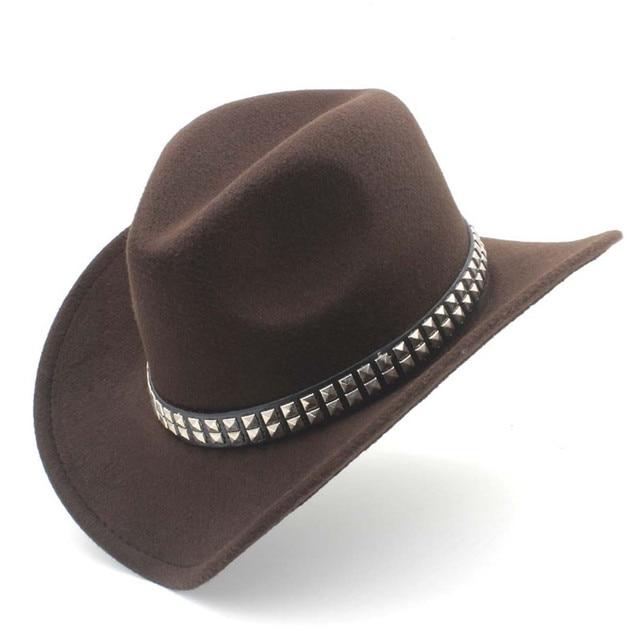 7cf0a5ecb US $10.62 40% OFF|Women Men Wool Punk Belt Western Cowboy Hat With Wide  Brim Felt Cowgirl Jazz Godfather Sombrero Cap Size 56 58CM-in Cowboy Hats  from ...