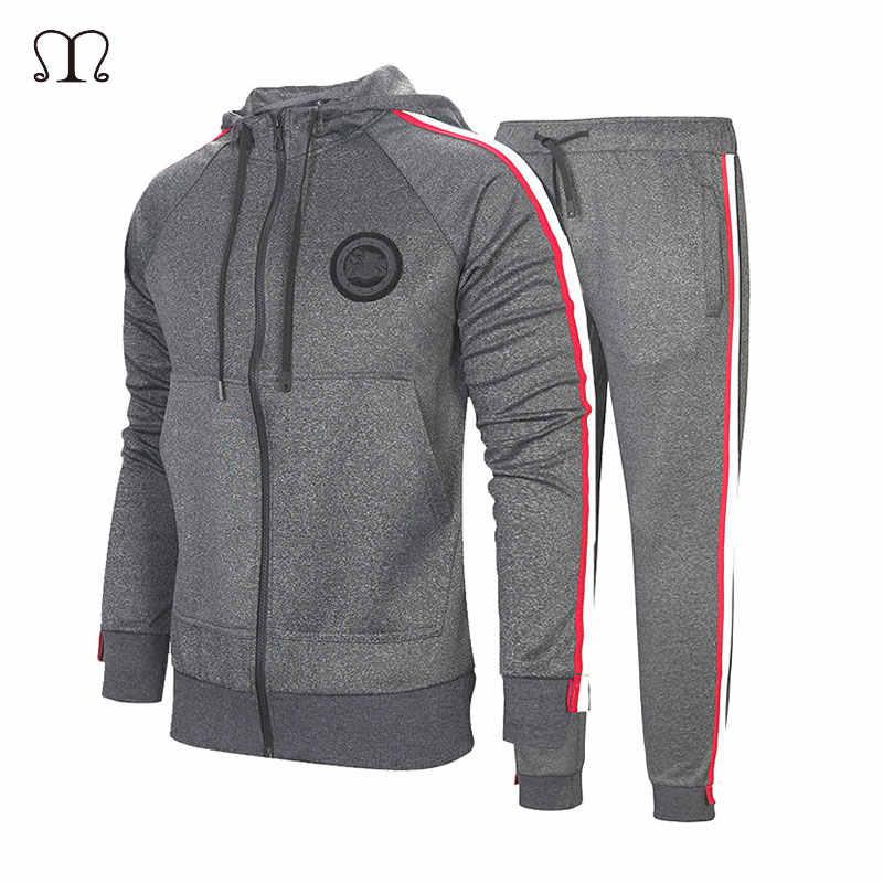 Для мужчин спортивная одежда спортивный костюм свободного покроя, на зиму Толстовка Толстовки Для мужчин s Двойка спортивные Для мужчин толстовк на молнии с капюшоном + штаны комплект из 2 частей