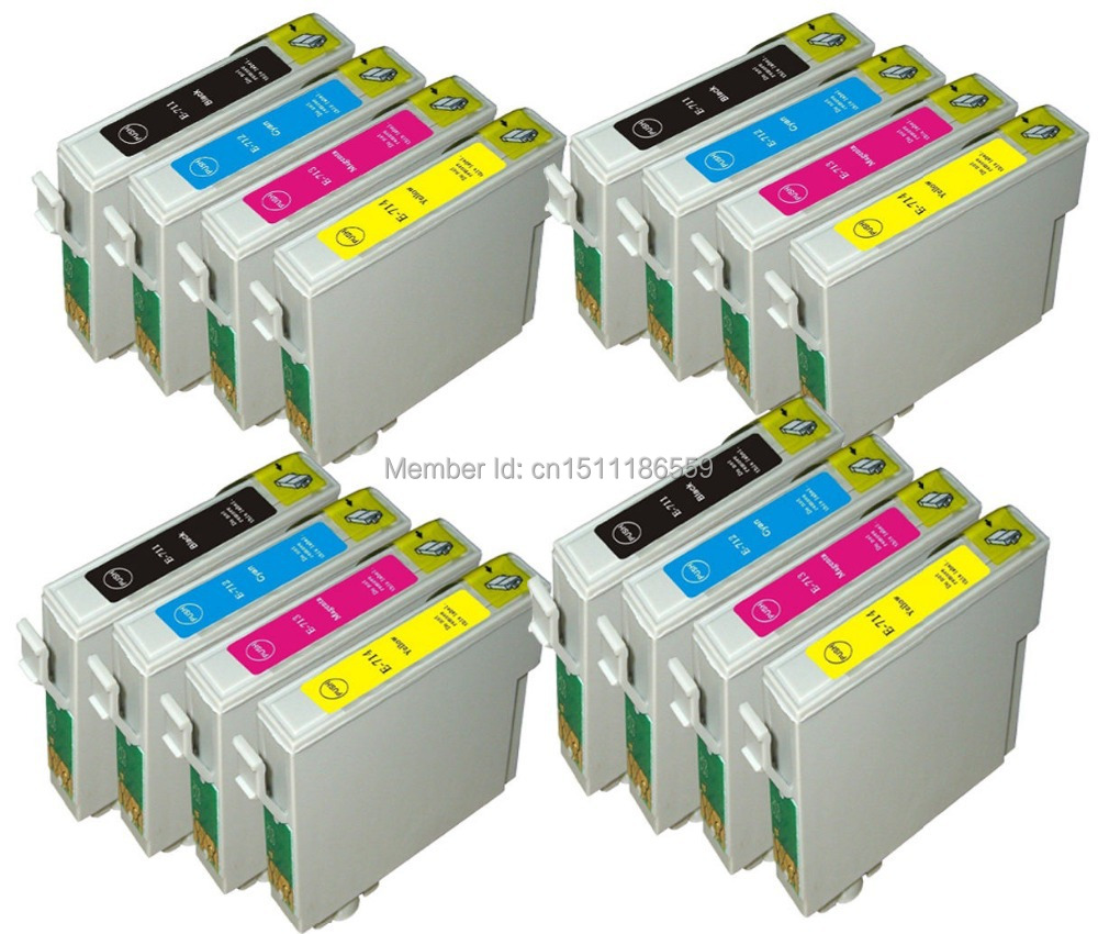16 Kompatibla T0711-714 INK CARTRIDGES FÖR EPSON STYLUS SX100 SX105 SX110 SX115 SX200 PRINTER