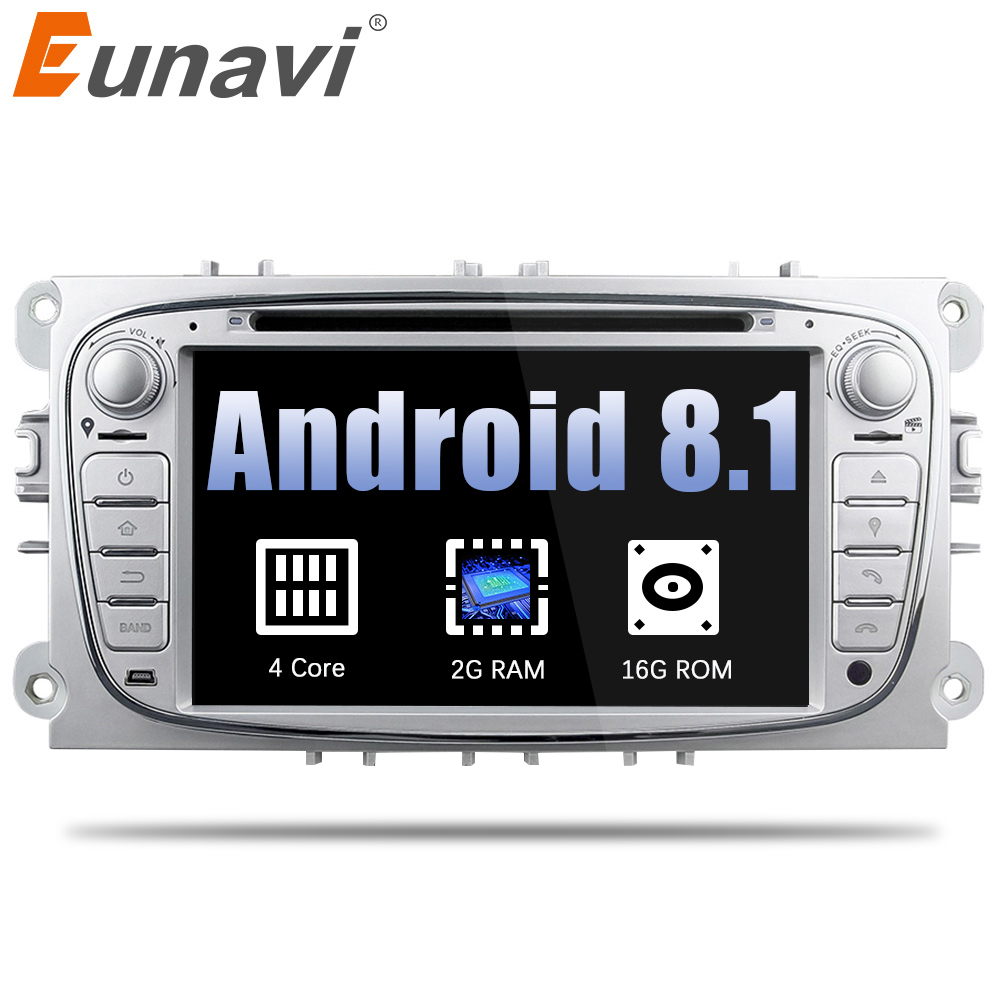 Eunavi 2 Din Android 8.1 7 inch Quad Core Car DVD Radio Stereo Player For Ford Focus Mondeo S-Max Cmax Galaxy 3G WIFI AUX Audio цена 2017