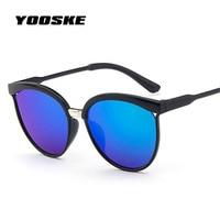 YOOSKE Female Cat Eye Sunglasses Women Popular Brand Designer Goggles Sunglass for men Retro Fashion Women's Sun glasses Mirror