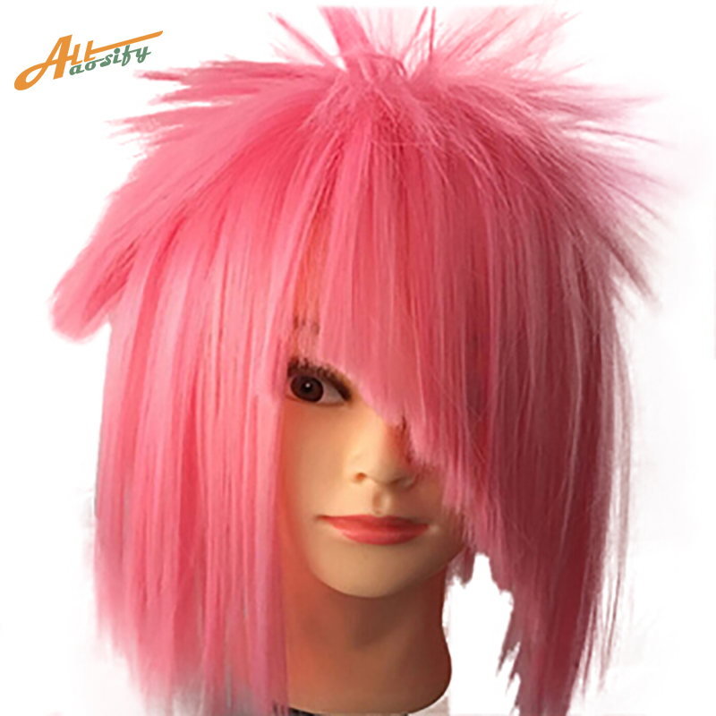 Allaosify 12 Short Straight White Black Blonde Red Brown Orange 12 Colors Cosplay Wigs H ...