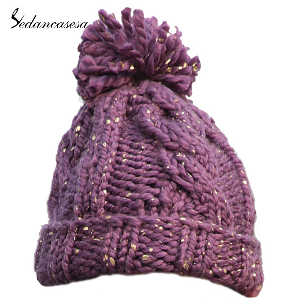 86ba78decbf ... Sedancasesa 2018 New Pom Poms Winter Hat for Women Fashion Solid Purple  Warm Hats Knitted Skullies ...