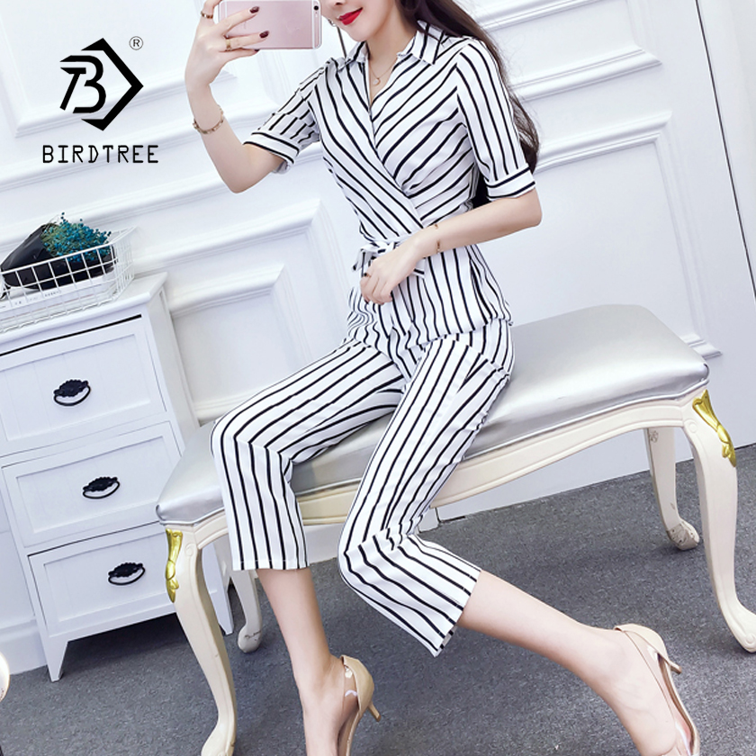 Womens Striped Casual V-neck Half Sleeve High Waist Jumpsuits With Sashes 2018 Spring New Arrival Elegant Hots Sales S84501f To Have A Long Historical Standing Jumpsuits