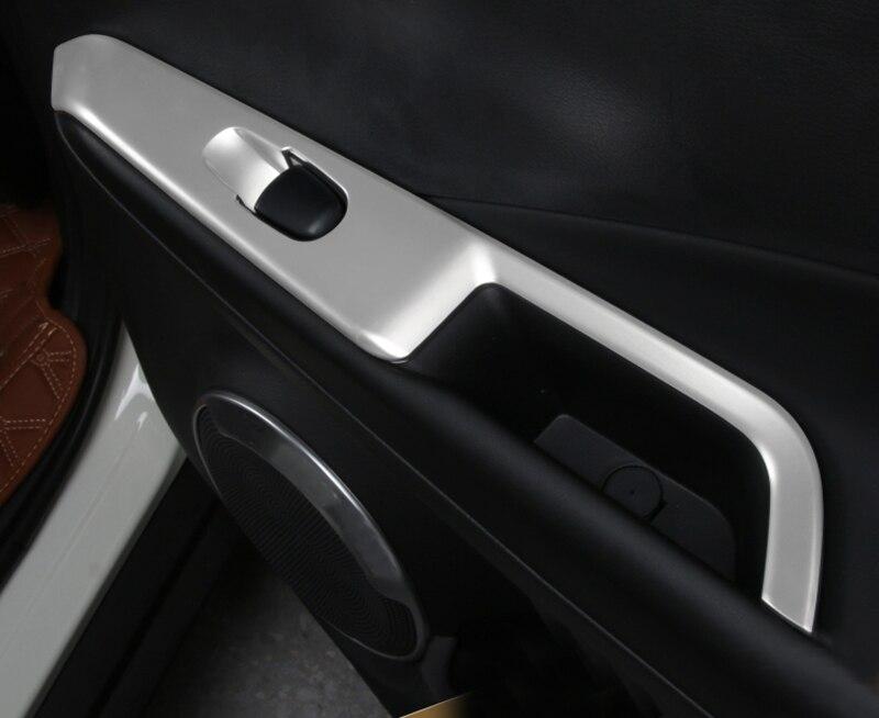 Left Hand Drive! 4PCS ABS Matte Interior Armrest Window Switch Button Cover Trim For Nissan Kicks 2016 2017 2018 Car Accessories