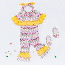 Newborn baby girl Easter eggs ruffle romper outfits set