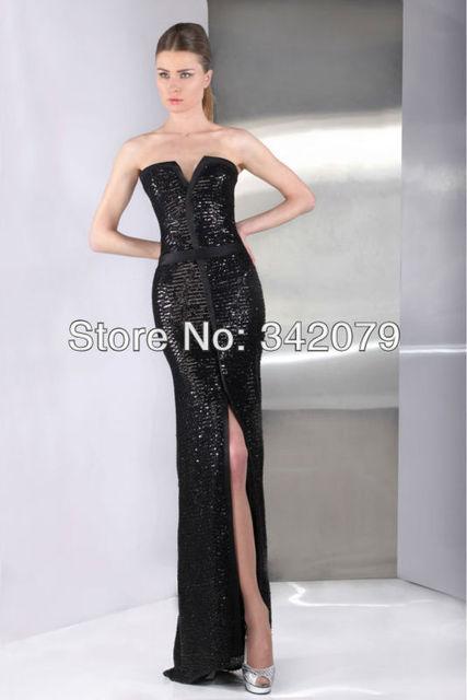 Abendkleid schwarz mit pailletten