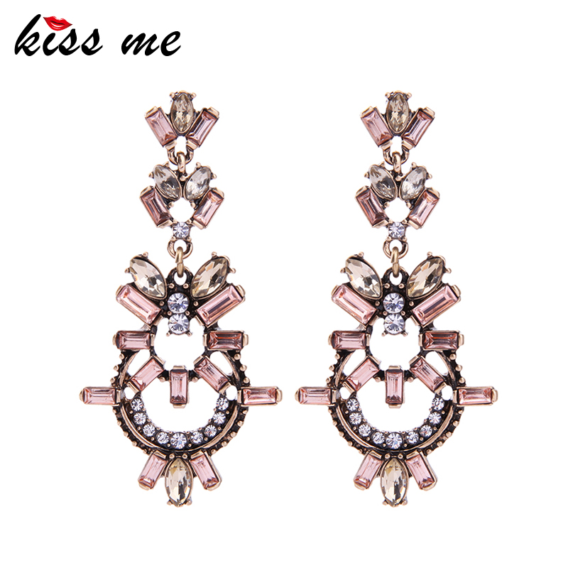 KISS ME Elegant & Fashion Geometric Crystal Earrings 2017 Charming Party Drop Earrings Accessories for Women pair of charming faux crystal hoop earrings for women