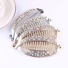 Fashion crystal shiny clip womens Korean version of the design DIY hair accessories vertical hairpin banana ponytail
