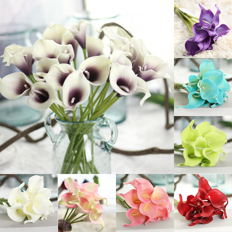 10Pcs/lot Artificial Calla Lily Flower Bridal Wedding Party Decoration Bouquet Head Latex Real Touch Flower Home Decor valentine