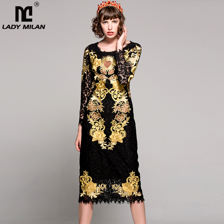 High Quality New Arrival 2018 Spring Womens O Neck Long Sleeves Embroidery Lace Elegant Fashion Runway Dresses