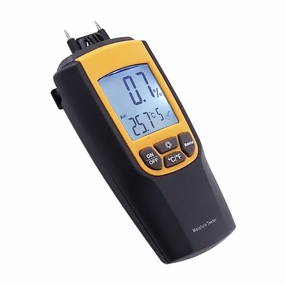 Digital Moisture Meter Thermometer Wood Concrete Cement Mortar Bricks Lime 0~95.7% Range mc 7806 wood moisture meter detector tester thermometer paper 50% wood to soil pin