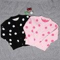 Rosa Polka Dot Crianças Cardigan Para A Menina do Inverno da Queda do Outono da Menina Bonito Bebê Camisola Outerwear Infantil Roupas de Tricô Moda