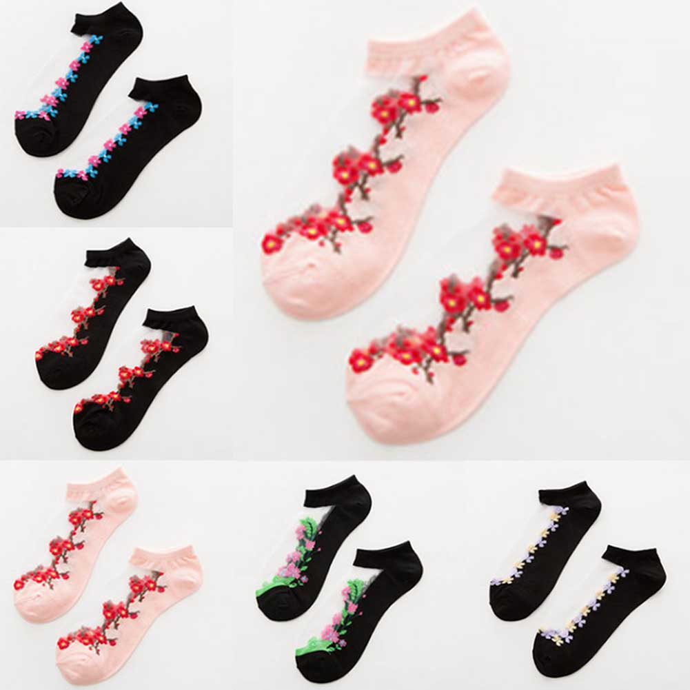 Foot 22-25cm Silk Ankle Short Sheer Socks Shivering Plum Blossom Floral Popular Orchid Weed Wild Flower Cheap Stuff Nice Cool