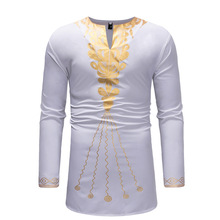2019 new fashion casual print medium length bottom v-neck long sleeve T-shirt