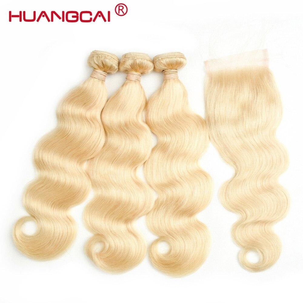 Huangcai перуанский Средства ухода за кожей волна 3 Связки с Синтетическое закрытие волос 613 светлые волосы Человеческие волосы с 4x4 Синтетическ...