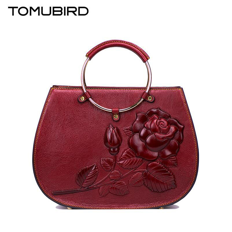 Tomubird 2017 new Chinese limelight layer of leather hand bag printing Retro national wind leather handbag   women's handbags original national wind leather ladies handbag 2017 spring of the new chinese wind hand bag woman women s handbags
