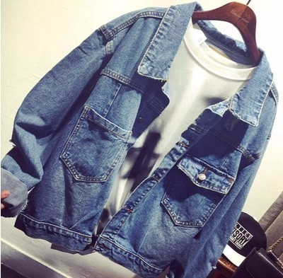 2016 High Quality Single-breasted Long-sleeve All-match Jeans Outerwear Coats New Fashion Denim Jacket Women