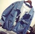 2016 de alta qualidade Single breasted de manga comprida All jogo Jeans casacos casacos jaqueta nova moda Jeans mulheres