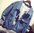 2016 de la alta calidad de un solo pecho manga larga del todo fósforo Jeans abrigos abrigos nueva moda Denim Jacket Women