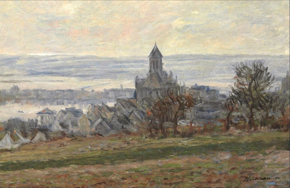 High quality Oil painting Canvas Reproductions The Church of Vetheuil (1881) By Claude Monet hand painted
