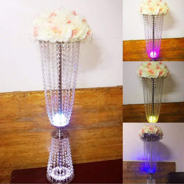 Crystal wedding table certerpiece flower vase with led light party event aisle glow decoration T-Stage crystal road lead