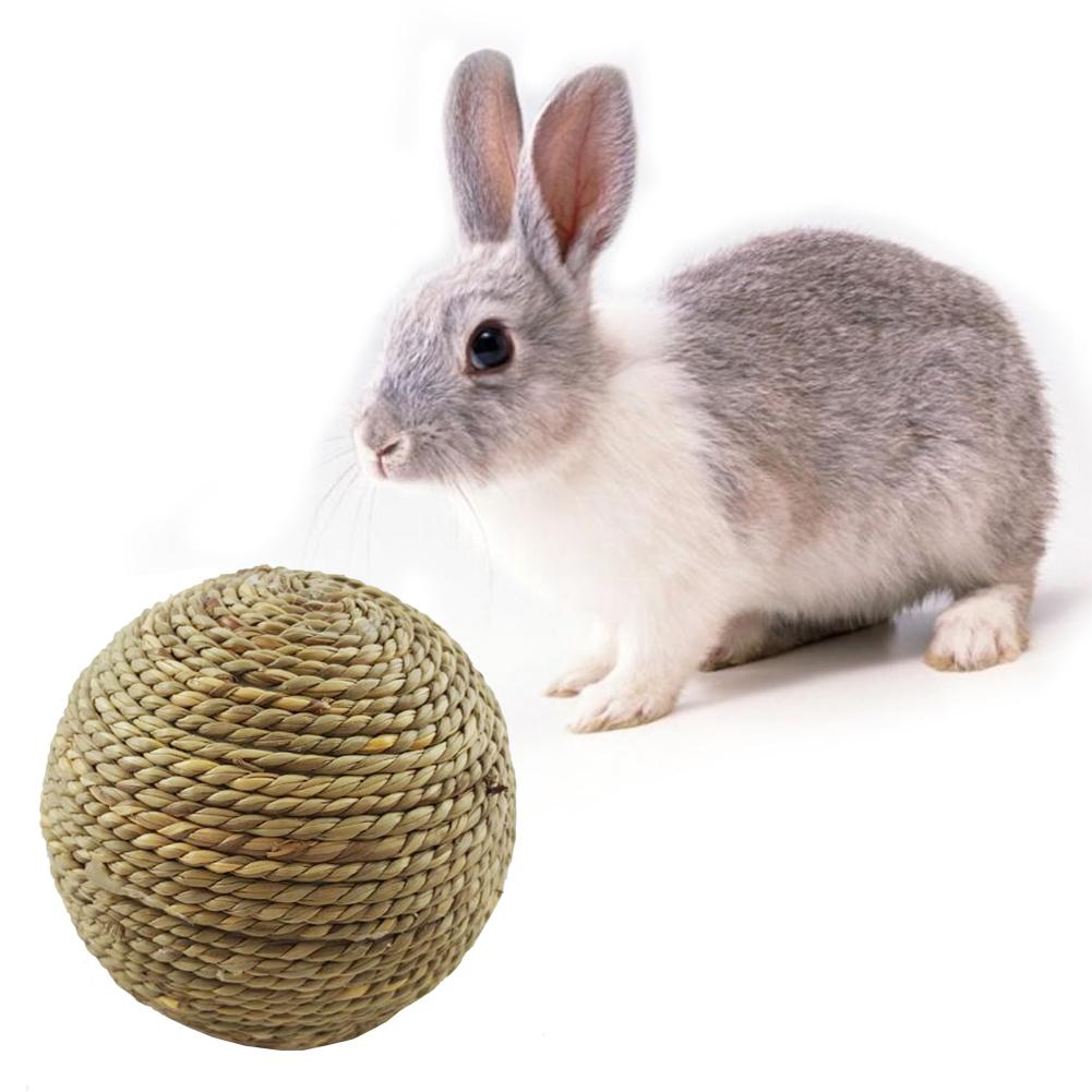 Small Pet Chewing Toy Natural Grass Ball Teeth Cleaning Toys Rabbits Cats Small Rodents Teeth Grinding Toy Pet Supplies Hot