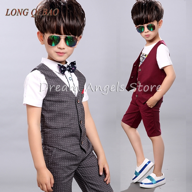 2 pieces Set 2017 Summer Children Set Children's Leisure Clothing Boy Suit Vest Kids Boys Shirt Cloth Wedding Formal Clothing free shipping winter autumn children clothing set leisure three pieces sweater vest pants boy sport suit