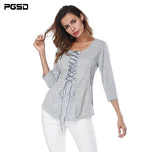 PGSD Autumn Three Quarter Sleeve Lace splicing Frenulum T-shirt Round neck sexy Tee shirt Pure color Female Repair body T-shirt sexy style jewel neck solid color voile splicing half sleeve t shirt for women