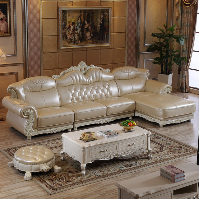 1 Chaise Lounge 3 Seat 1 Seat Modern China Leather Sofa Set For