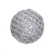 Hot 12mm Pave Ball Charm Bead For Men Bracelet Jewelry Making DIY Jewelry Micro Pave Zircon Crystal Spacer Metal Bead
