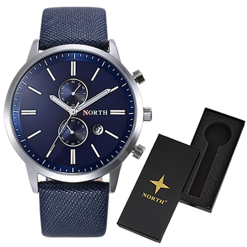 2016 Men Watch Quartz LuxuryNORTH Watches Men Classic Date Waterproof Male Wristwatch Relogio Masculino with watch