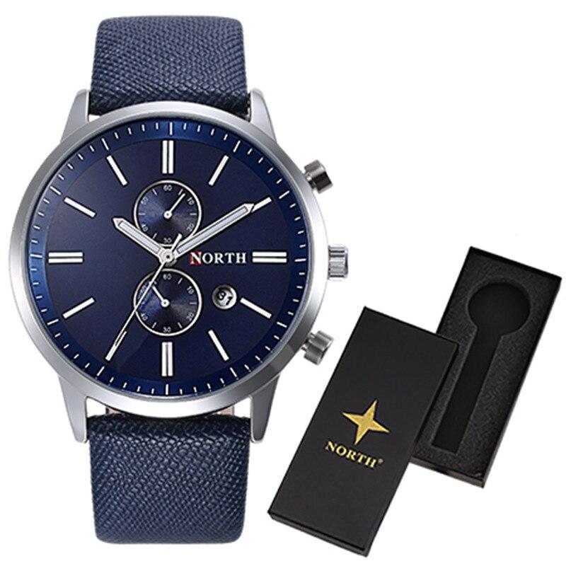 Men Watch Quartz LuxuryNORTH Watches Men Classic Date Waterproof Male Wristwatch Relogio Masculino with watch box