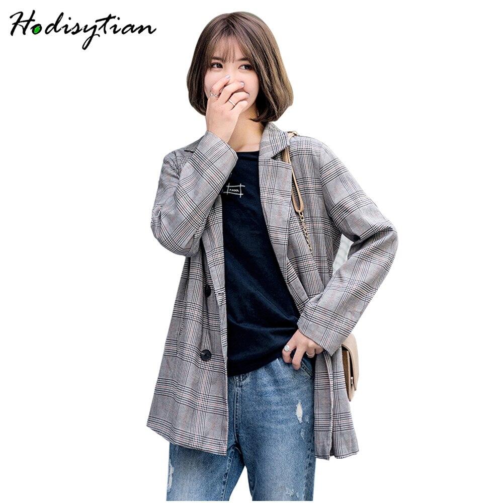 Hodisytian Autumn Fashion Blazer For Women Casual Plaid Suits Elegant Female Chic Jacket Outerwear Long Sleeve