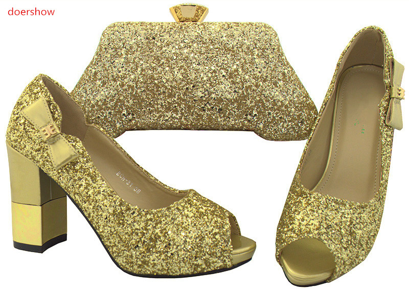 doershow Matching Shoes and Bag Set African Italian gold Shoes and Bag Set High Heels Italian Design African Party Shoes SWR1-4 doershow latest style african shoes and bag set new italian high heels shoes and matching bag set for party dress kh1 21