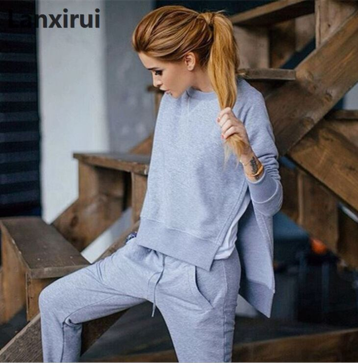 2018 Fall Cotton 2 Piece Set Tracksuit Women Sets Asymmetrical Hoodies Set Side Split Sweat Suits Women Sweatshirts Outfit
