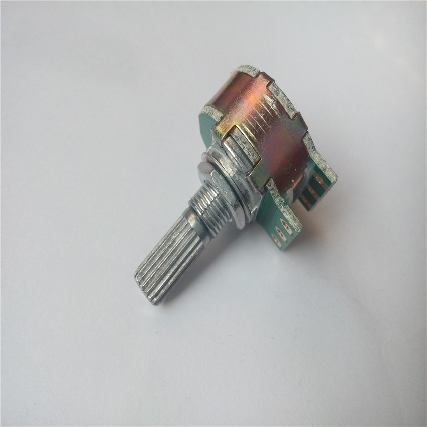 1pcs Step potentiometer 21 digit Step A10K A20K A50K A100K A250K potentiometer progressive handle 20MM double for HIFI amplifier 09 vertical single joint potentiometer a10k handle 20mmf
