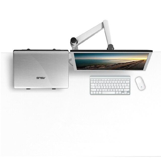 OA-7X multimedialny pulpit podwójne ramię 27 cali LCD Monior uchwyt + uchwyt na laptopa podstawka na stół pełnoekranowy podwójny Monitor ramię montażowe stojak