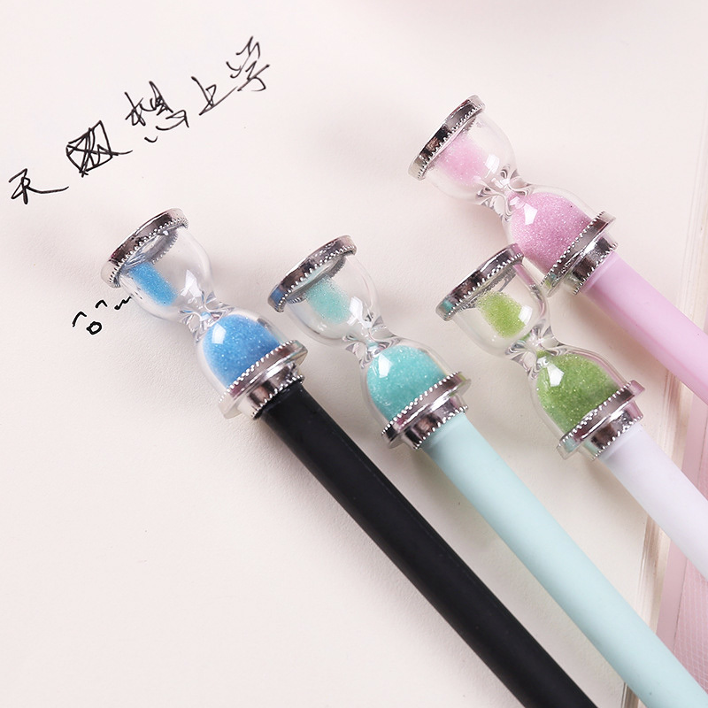 1Pcs Kawaii Creative Time Hourglass Gel Pen 19.5CM Black Ink Pens For Student Office School Supplies Student Stationery
