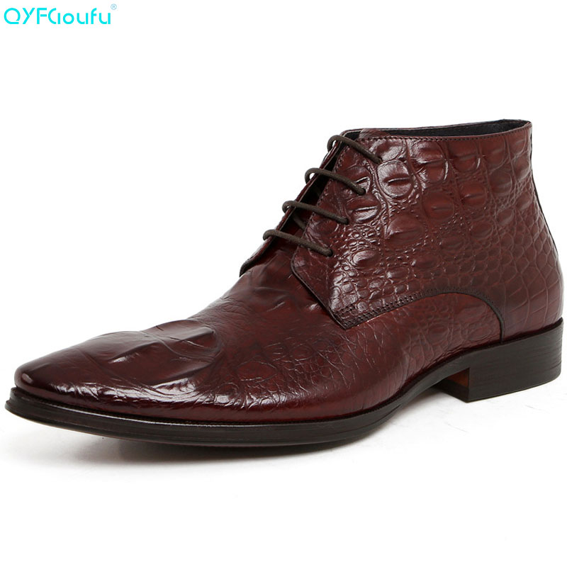 QYFCIOUFU 2019 Genuine Leather Pointed Toe Mens Dress Boots Luxury Brand Work Ankle Boots Male Black Wine Red Chelsea Boots ShoeQYFCIOUFU 2019 Genuine Leather Pointed Toe Mens Dress Boots Luxury Brand Work Ankle Boots Male Black Wine Red Chelsea Boots Shoe