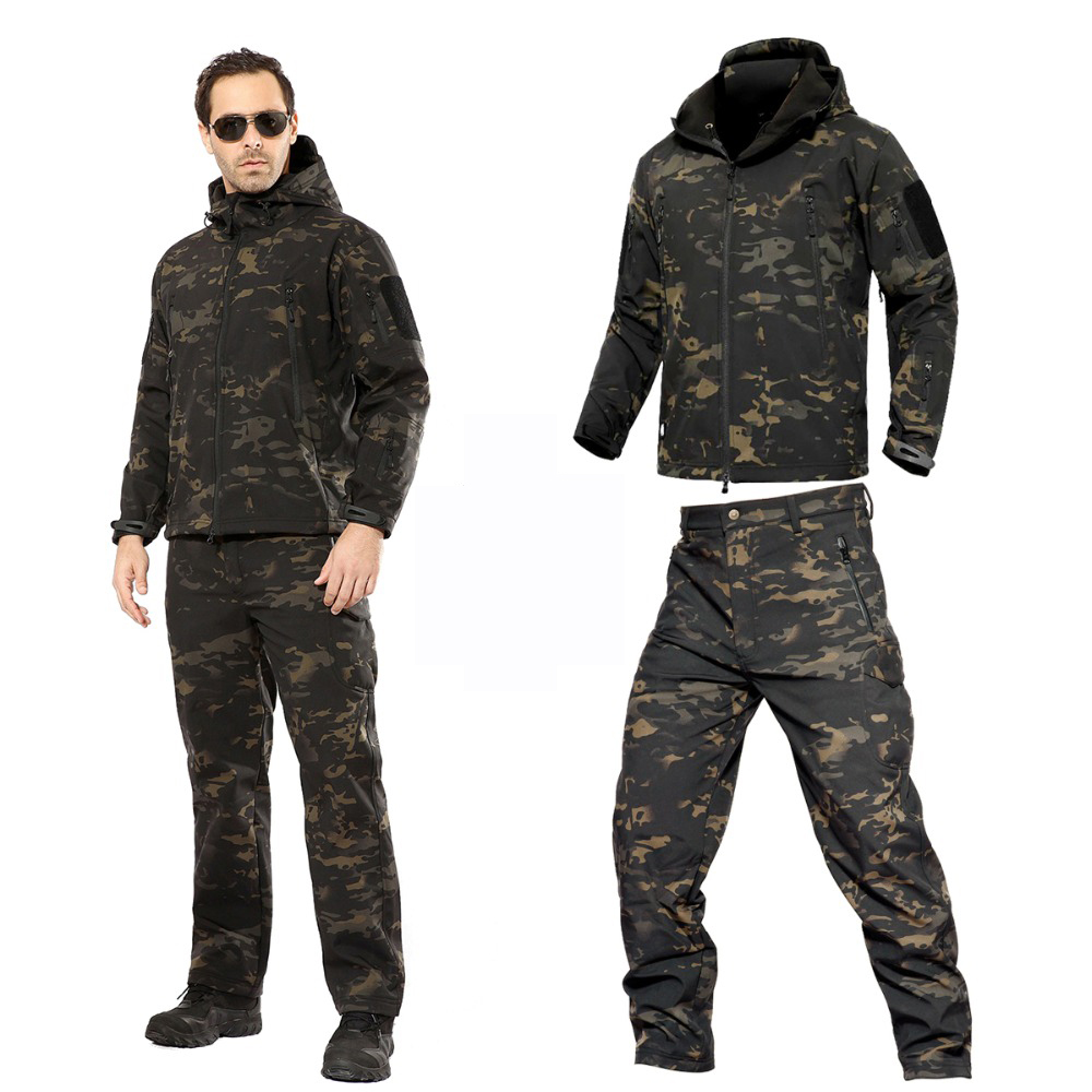 Camouflage Warm Clothes Rain Coat Tactical Jackets Men Fleece Softshell Jacket Waterproof Women Trousers Fishing Hiking Pants