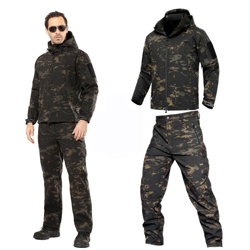 Ensembles de Camping veste tactique militaire hommes polaire Softshell imperméable femmes manteau de pluie Camouflage chasse Trekking randonnée pantalon