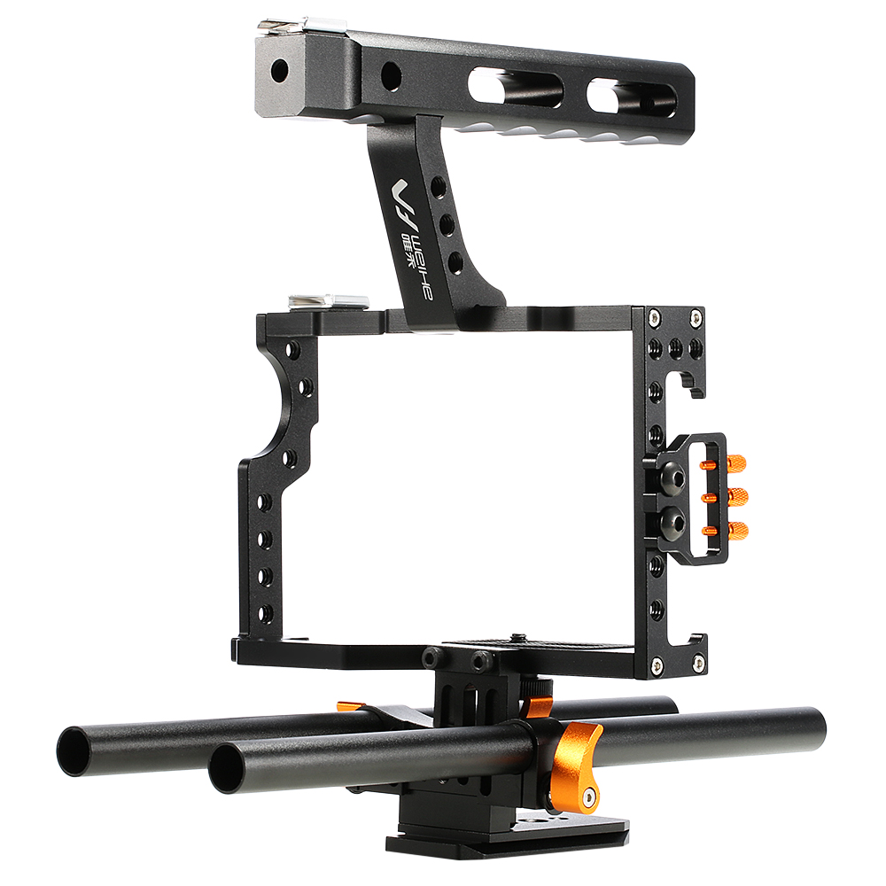 WEIHE DSLR Camera Video Cage Stabilizer Rig for A7S / A7 / A7R / a7 viltrox 15mm rod rig dslr video cage kit stabilizer handle grip follow focus for sony a7ii a7r a7s a6300 panasonic gh4 m5