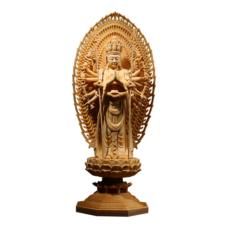 Wooden Carving Guanyin And The Thousand Arms Goddess Buddha Statue Western Trinity Solid Wood Feng Shui Buda Statues For Decors