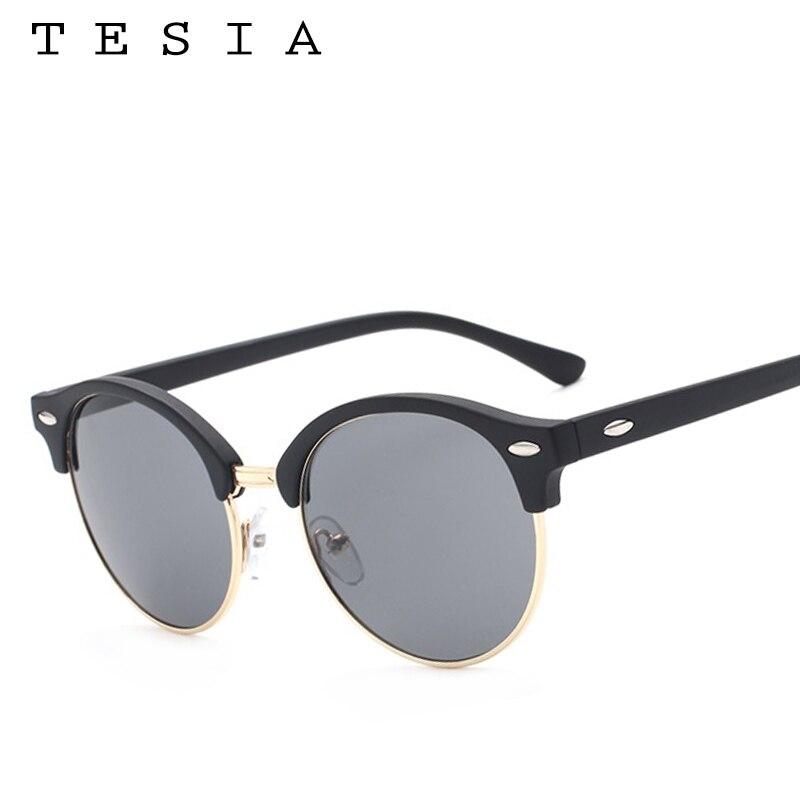 TESIA Club Runde Sonnenbrille Frauen Männer Nieten Halbrahmen Marke - Bekleidungszubehör - Foto 3