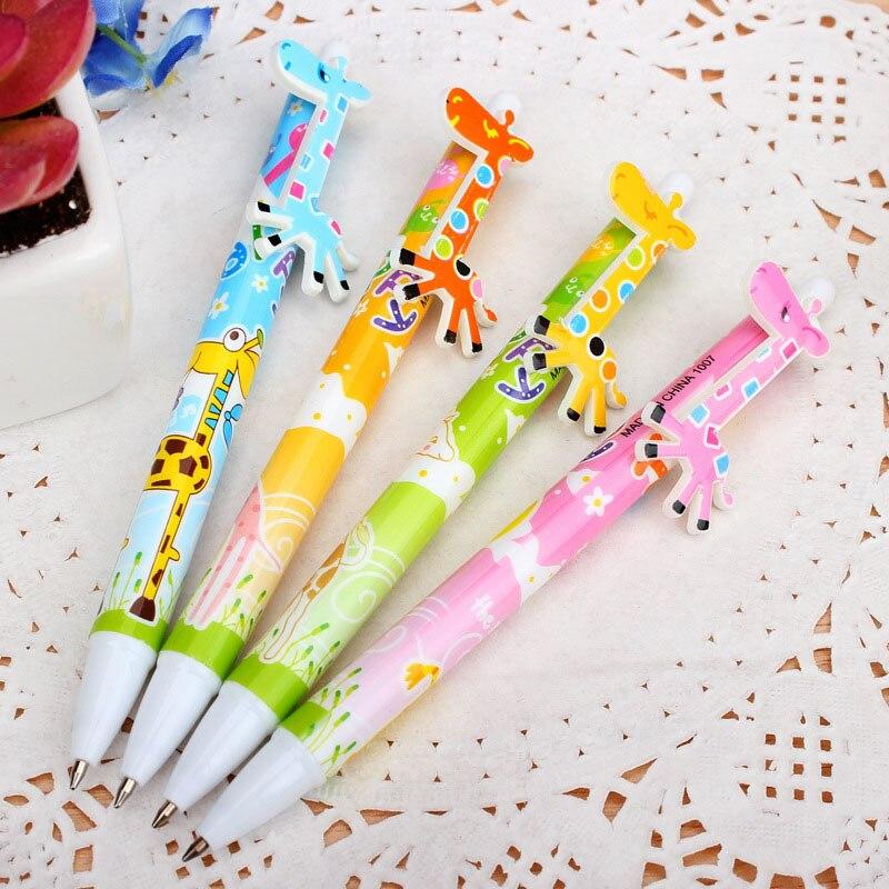Cute Cartoon Ball Pens Plastic Kawaii korean Stationery fancy giraffe pen school supplies Gifts Student 403