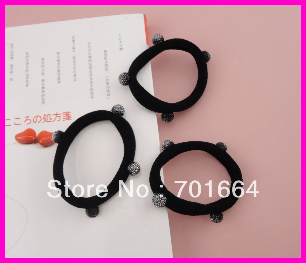 20PCS 15.0cm length adult size black elastic knitted ponytail holders with gray rhinestone ball beads